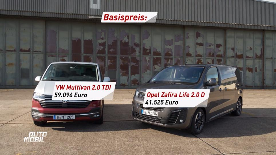 Opel Zafira live vs. VW Multivan